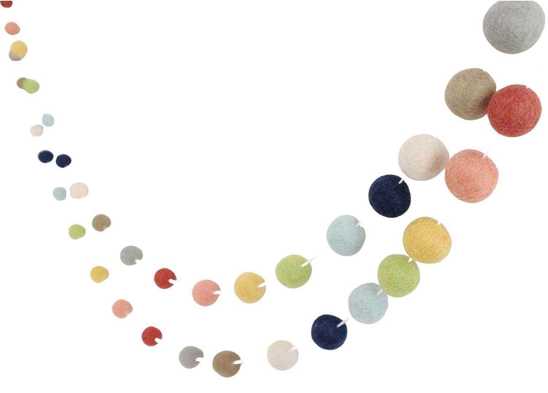 """""""Farm to Table"""" Adjustable Handmade Felt Ball Garland by Sheep Farm Felt- Rustic Rainbow Pom Pom Garland. 1 inch balls. 7 feet long. 28 felt balls"""