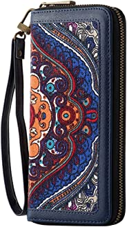 HAWEE Clutch Wallet Leather Zipper Purse with Wristlets Canvas Floral for Women, Blue