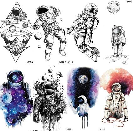 COKTAK 8 Hojas Azul Astronauta NiñOs De Dibujos Animados Tatuajes ...