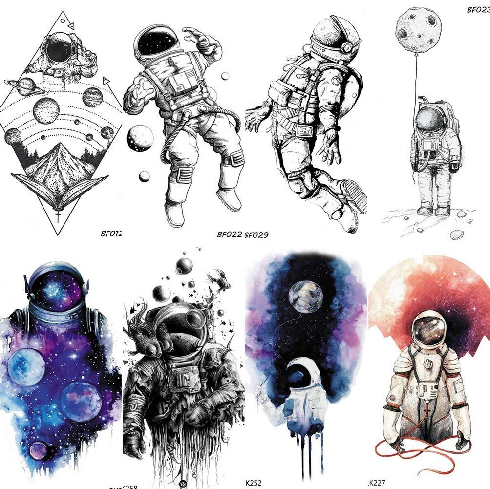 COKTAK 8 Pieces/Lot 3D Watercolor Blue Astronaut Cartoon Kids Temporary Tattoos For Children Cute Space Man Children Tattoo Sticker Women Girls Boys Body Art Waterproof Tatoos Sheet