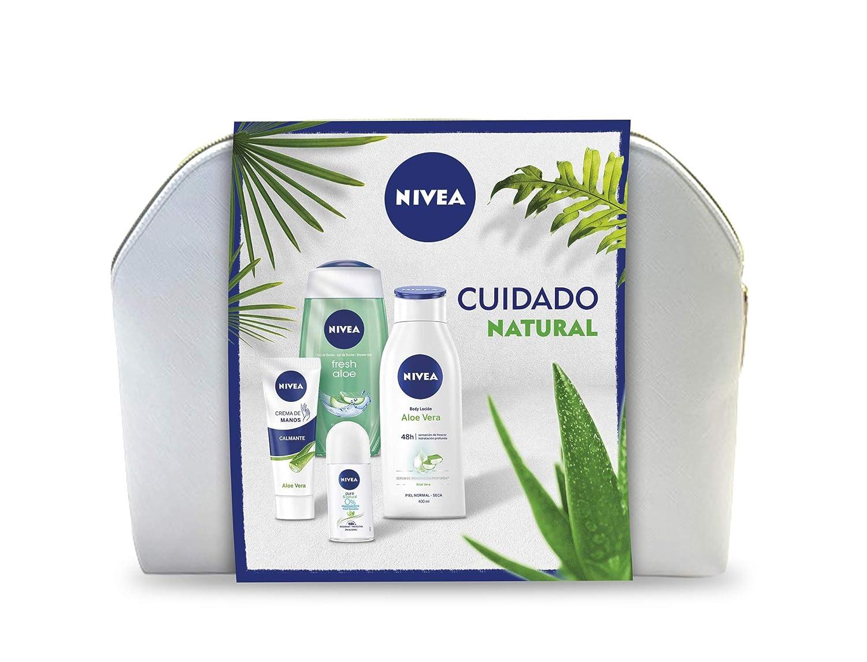 NIVEA Neceser Body Cuidado Natural con loción corporal (1 x 400 ml), gel de ducha (1 x 250 ml), desodorante roll on (1 x 50 ml) y crema de manos (1 x 100 ml): Amazon.es