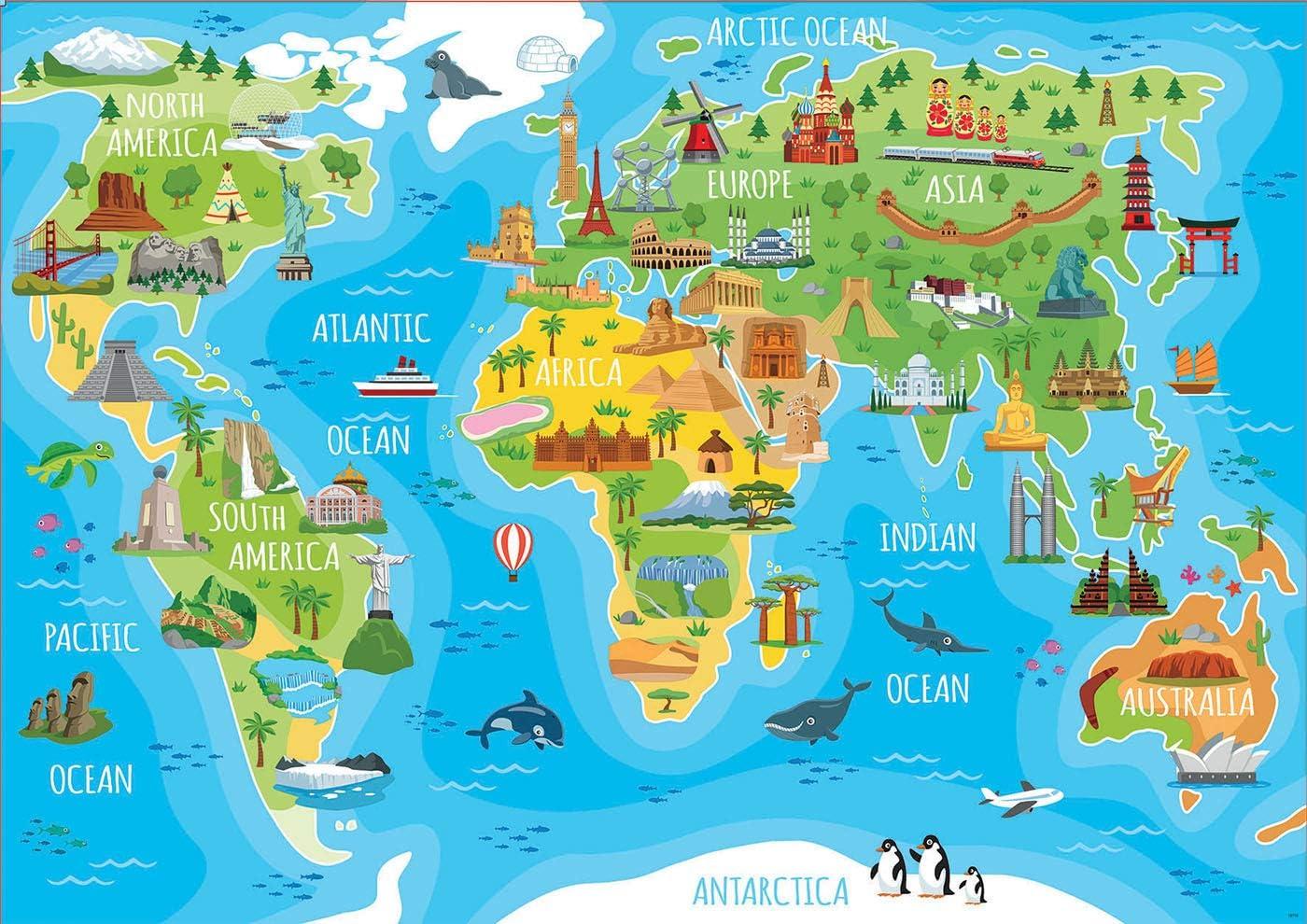 Educa- Mapamundi Monumentos Puzzle Infantil de 150 Piezas, a ...