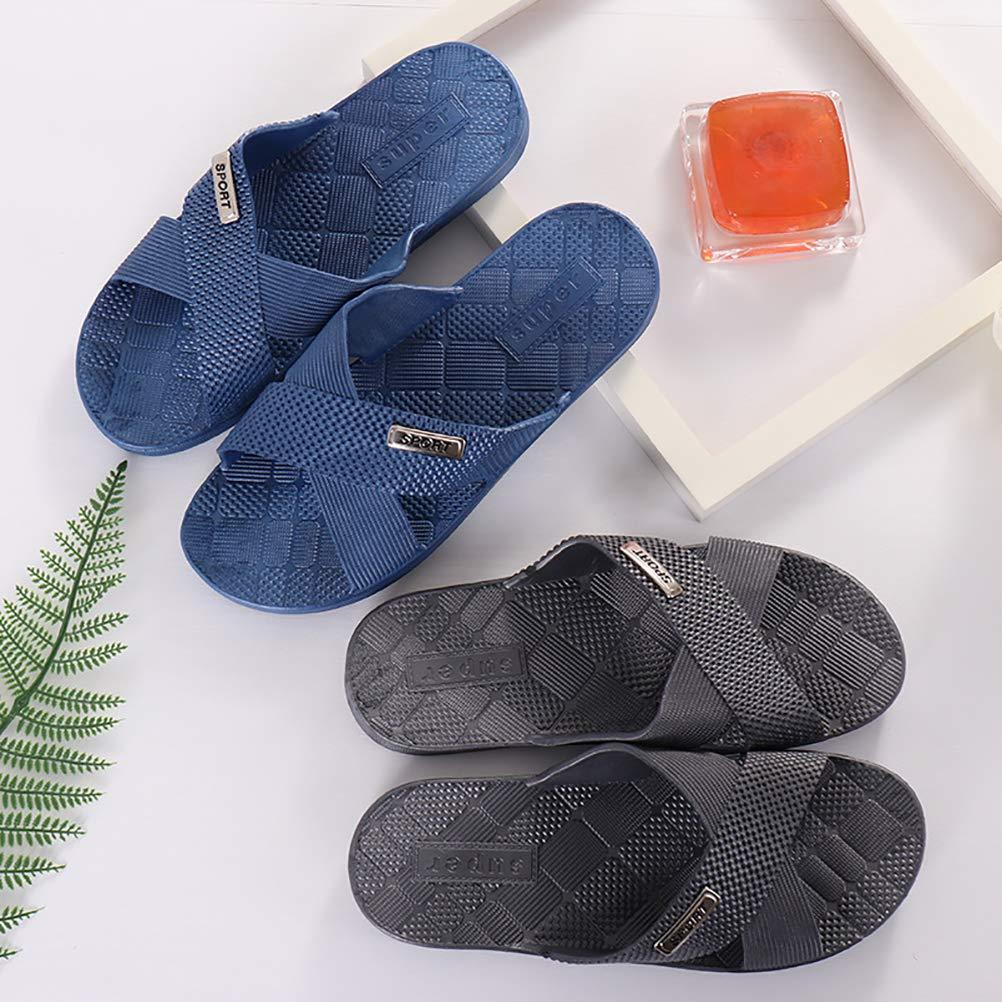 HUPLUE Mens Summer Bathroom Slippers Soft Household Shower Slipper Anti-Slip Beach Slippers