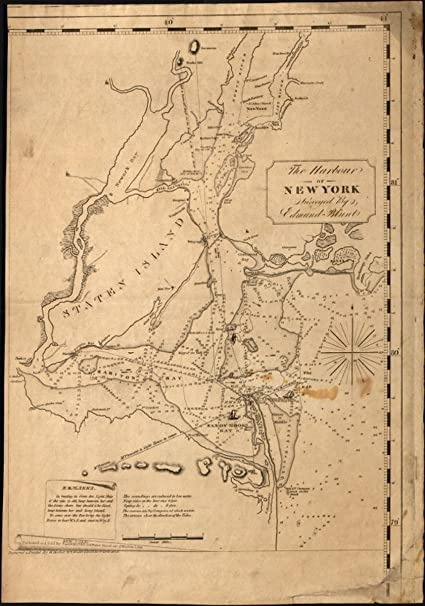 Map Of New York Harbour.Amazon Com 1827 Map The Harbour Of New York Size 16x24 Ready To