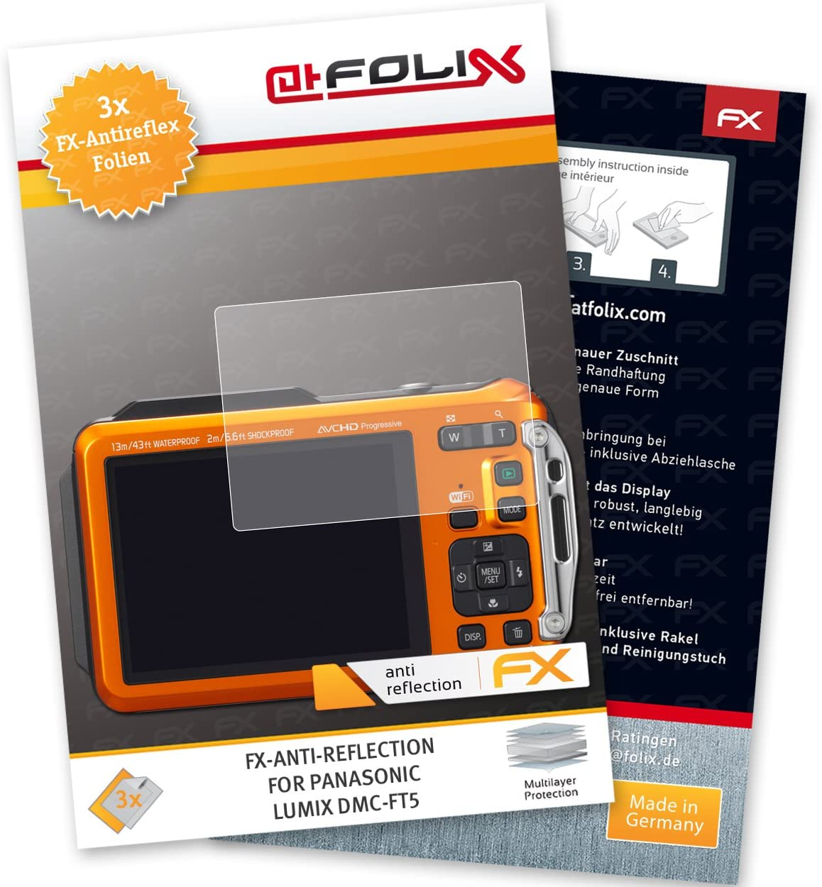 atFoliX 3x Screen Protection Film for Panasonic Lumix DMC