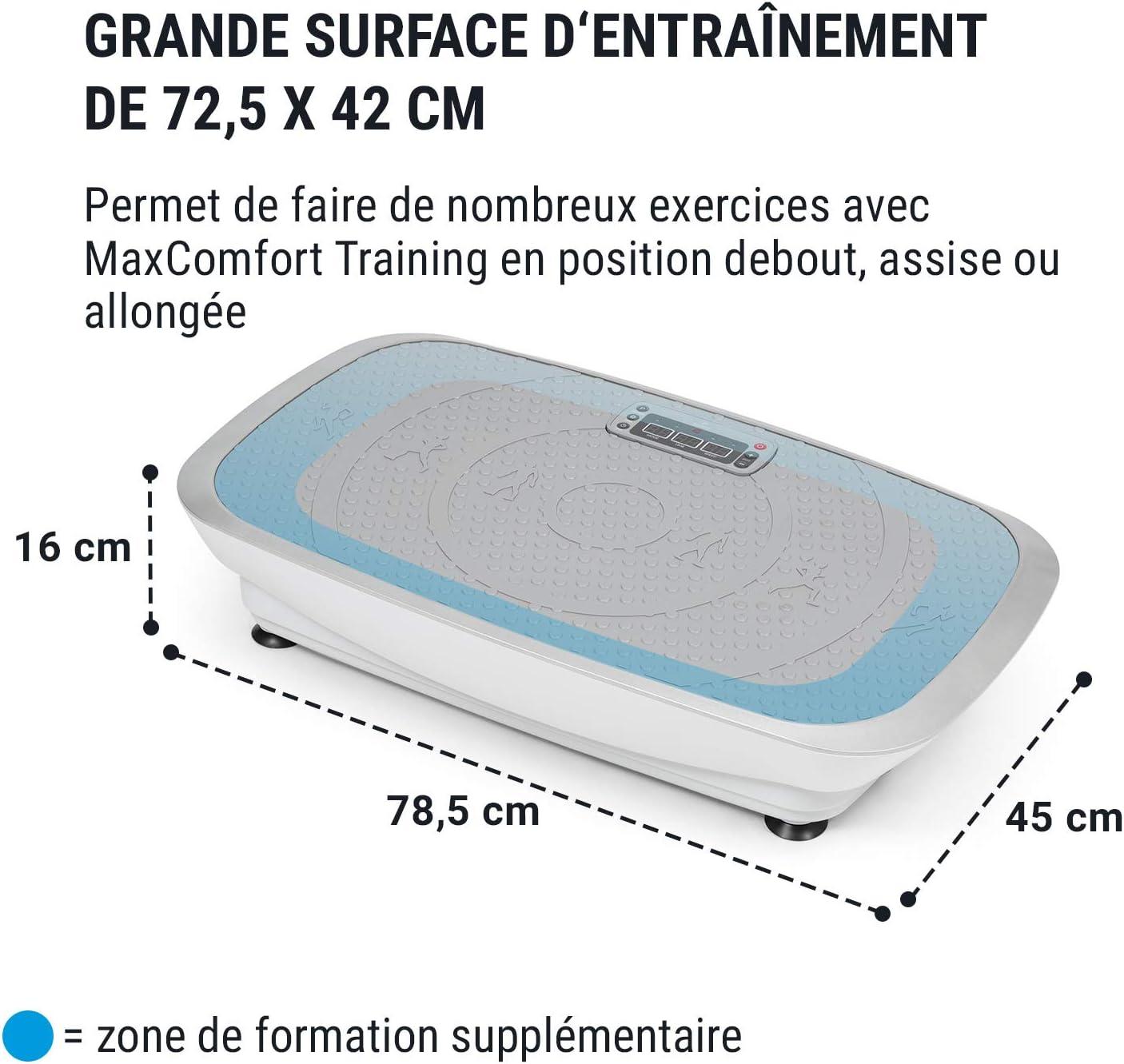 3 programmes pr/ér/égl/és 20 Vitesses Minuterie de r/églage Ecran LCD Clair Puissance: 2 x 250W 120kg Charge Max KLAR FIT Vibe 3DX R/éduit la Cellulite Plateforme vibrante Bandes de Fitness