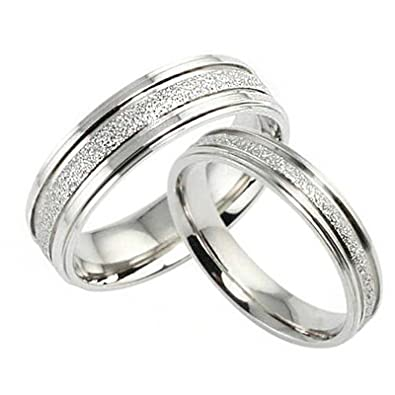 Amazon Com Wedding Rings For Men And Women Rings Silver Couple