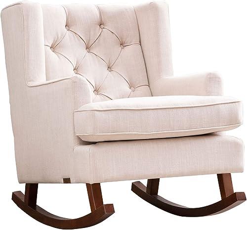 Abbyson Living Fabric Nursery Room Glider Rocker Chair