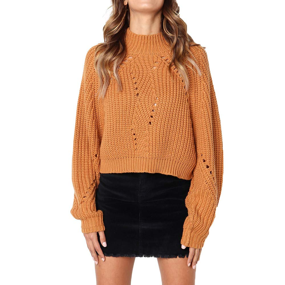 YANG-YI Women Winter Fashion Long Sleeve Knitted Solid Tops Loose Sweater Blouse