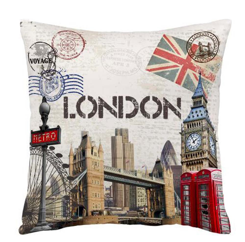ITFRO Retro Vintage New York City Skyscraper Cotton Linen Square Decorative Retro Throw Pillow Case Vintage Cushion Cover 18