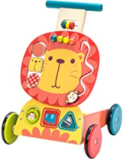 Labebe Wooden Push and Pull Toy, Activity Baby Walker, Toddler Learning Cart - Yellow Lion