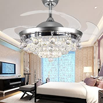 rs lighting retractable blades ceiling fan chandelier 42 inch with remote control and crystal modern - Living Room Fan Light