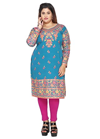 260f7b4187ca Unifiedclothes Plus Size (Upto 9XL) Women Indian Pakistani Kurti Tunic  Kurta Top Shirt Dress