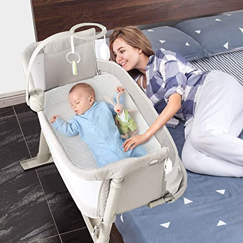 kidsclub Baby Bassinet, Bedside Sleeper for Baby, Easy Folding Crib with Music Box Toys, 9 Height Angle Adjustable Gray