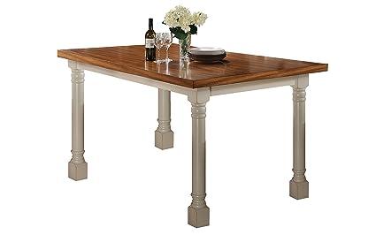 Amazoncom Acme Furniture ACME Wilton Distressed Oak And Antique - Cream distressed dining table