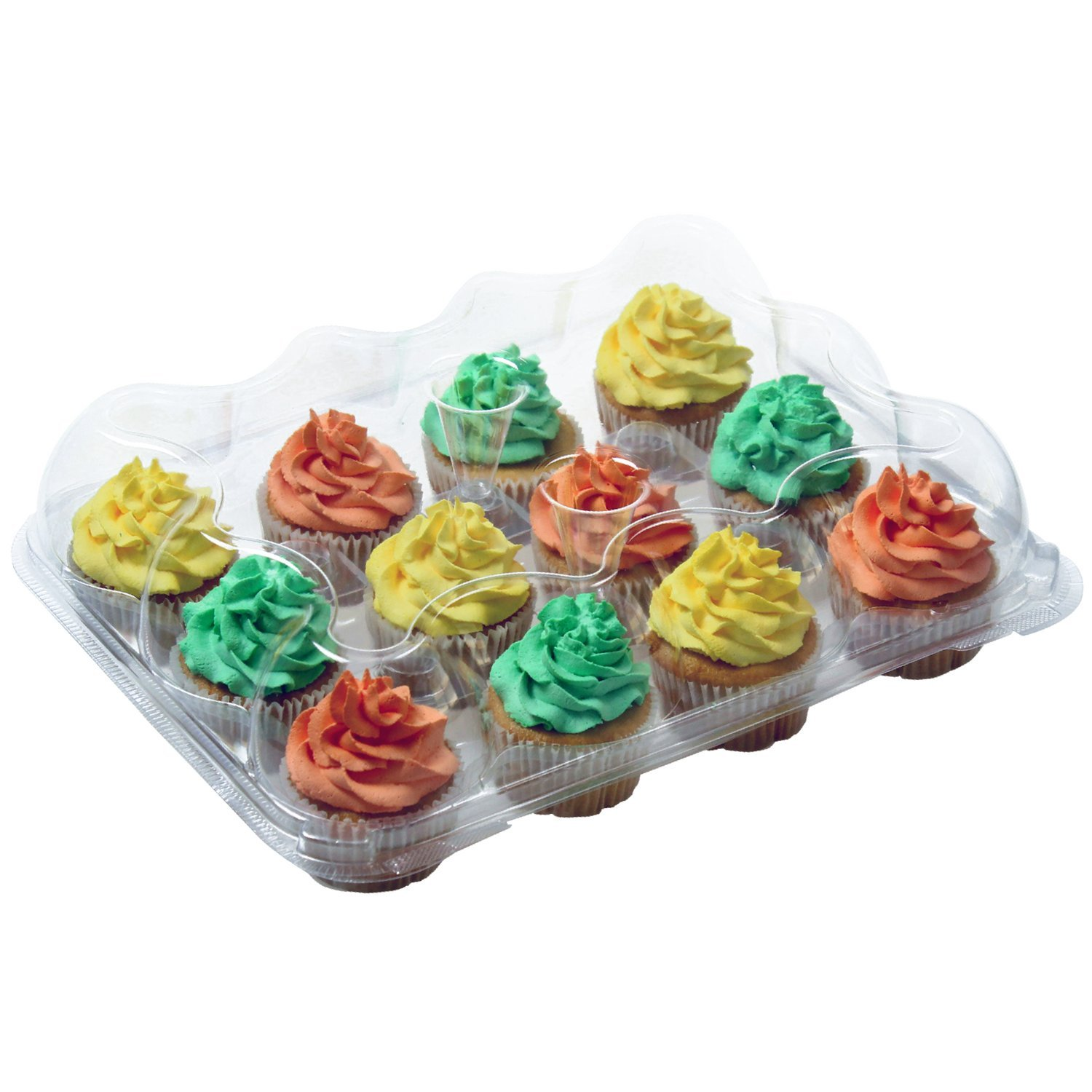 OccasionWise Premium Large Clear Cupcake Boxes with 12 Compartments | Durable Cup Cake Container/Holder to Keep Your Cupcakes or Muffins Delicious and Fresh Longer | Pack of 4