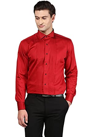 7c70341e7aa SSB Men s Cotton Party Wear Solid Red Shirts  Amazon.in  Clothing ...