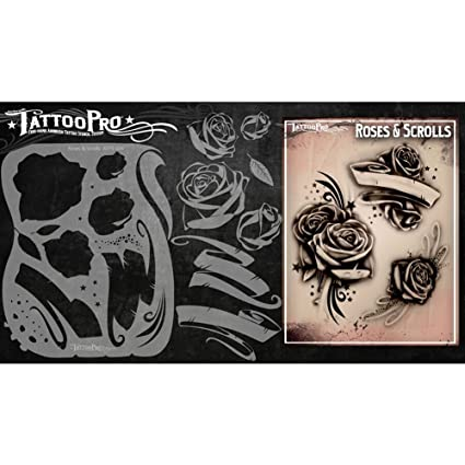 21f3daafc Image Unavailable. Image not available for. Color: Tattoo Pro Stencils  Series 1 - Roses & Scrolls