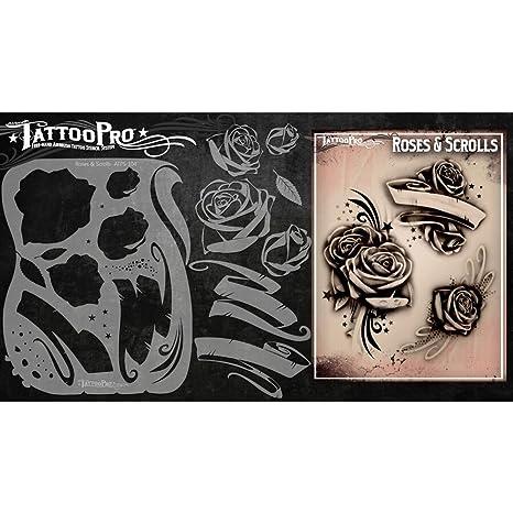 Tatuaje Pro plantillas de la serie 1 - Rosas y Rollos: Amazon.es ...