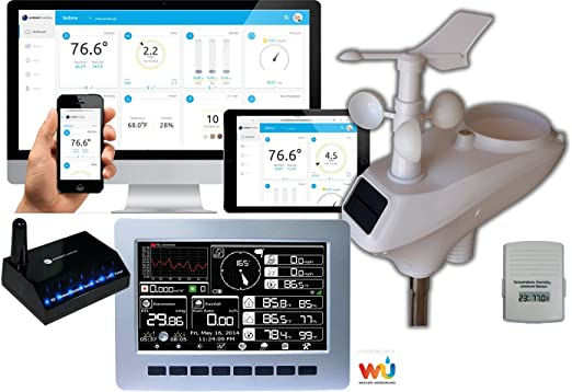 Ambient Weather WS-1201-IP Observer Solar Powered Wireless Internet Remote Monitoring Weather Station with Solar Radiation and UV Compatible with Alexa