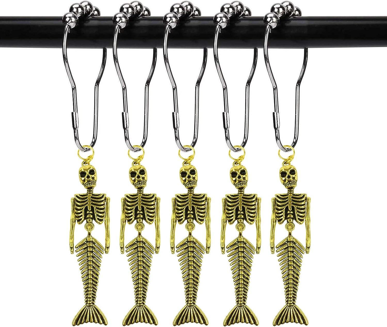 ZILucky 12pcs Mermaid Skeleton Shower Curtain Hooks Fantasy Decorative Home Bathroom Rustproof Shower Curtain Ring Halloween Decor (Mermaid Skull Gold)