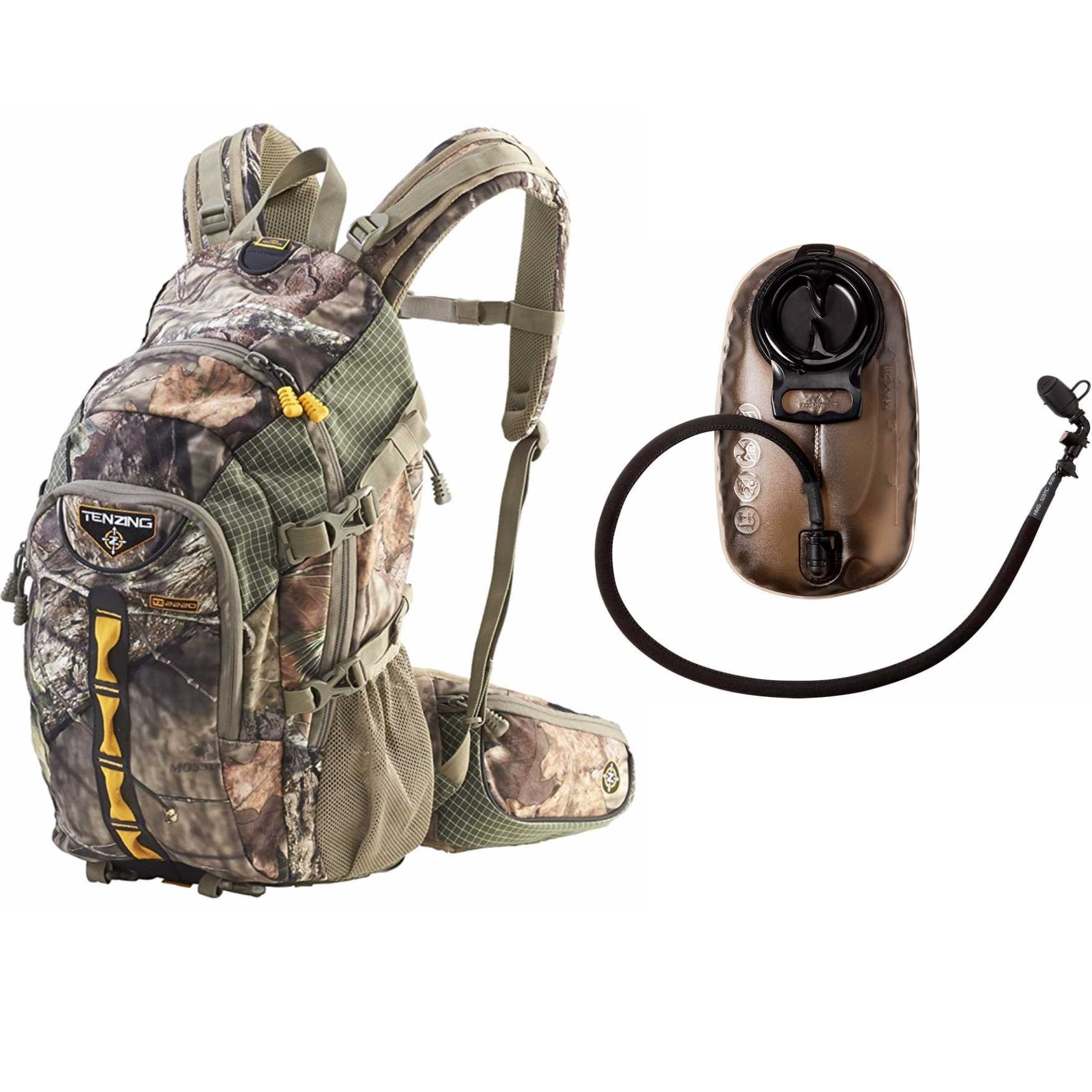 Tenzing TZ 2220 Game Hunting Day Pack Backpack (Mossy Oak Country Camo) with 2.0L Hydration Reservoir