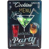 GARNECK Cartel de Chapa de Metal Vintage Menú de Cóctel Cartel de Bar Retro Cartel de Pared Decorativo Placa de Hierro…