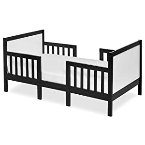 Dream On Me Hudson 3 In 1 Convertible Toddler Bed in Black and White, Greenguard Gold Certified