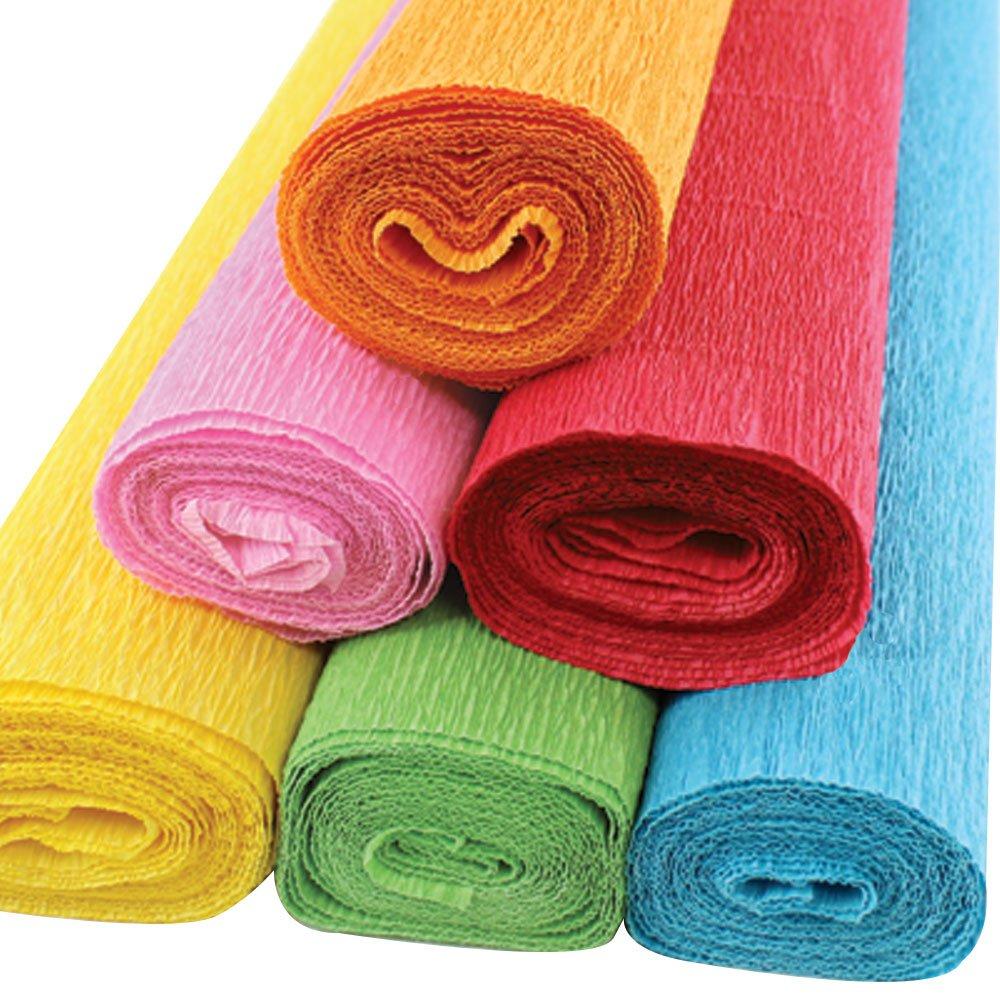 Just Artifacts Premium Crepe Paper Rolls - 8ft Length/20in Width (6pcs, Color Fiesta)