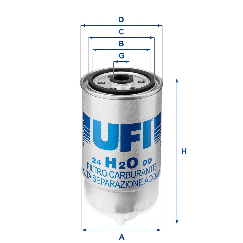 Ufi Filters 24.H2O.00 Filtro in Linea per Diesel