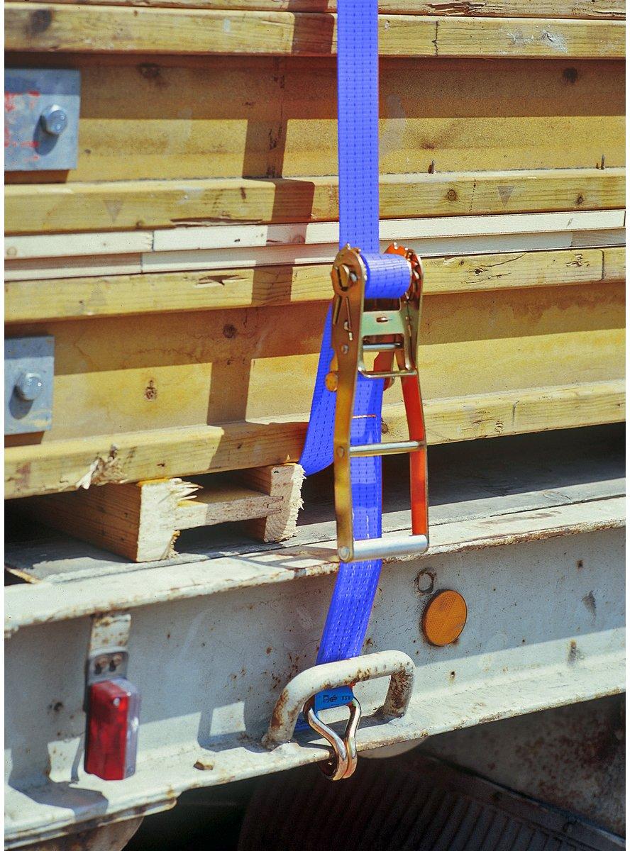 Braun color azul Pulpo con hebilla y ganchos para baca 4000 daN, 2 piezas, 10 m, 50 mm de ancho