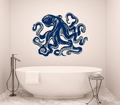Octopus Wall Decal Tentacles Vinyl Sticker Decals Kraken Octopus Fish Deep  Sea Scuba Ocean Animals Bathroom