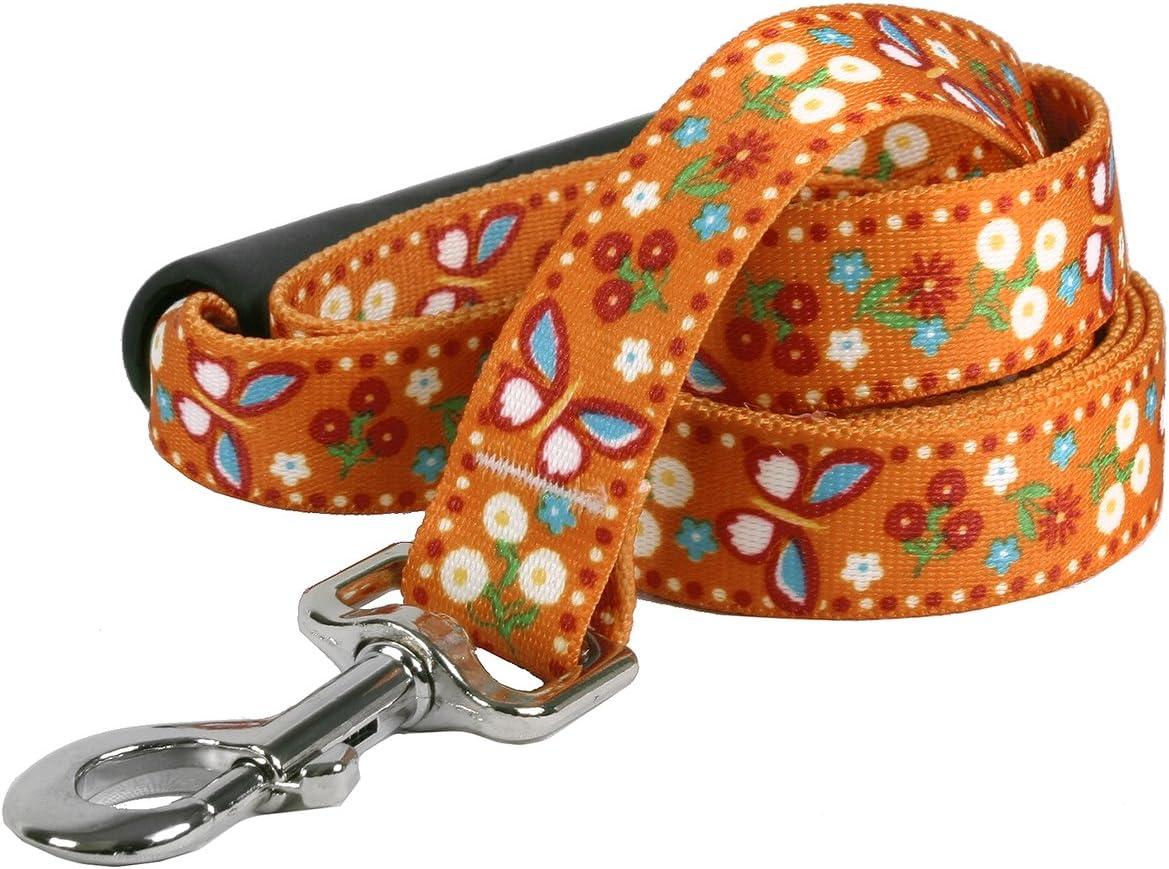 Yellow Dog Design Festive Butterfly Orange EZ-Grip Dog Leash with Comfort Handle