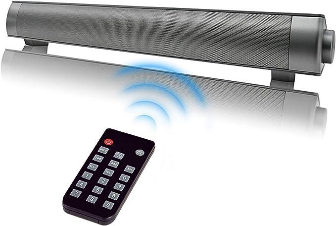 Foolerhome Soundbar Bluetooth Wired Und Wireless Mit Subwoofer Home Cinema Lautsprecher Audio Stereo Für Tv Pc Tablets Computer Smartphones Unterstützt 3 5 Mm Audio In Silber Audio Hifi