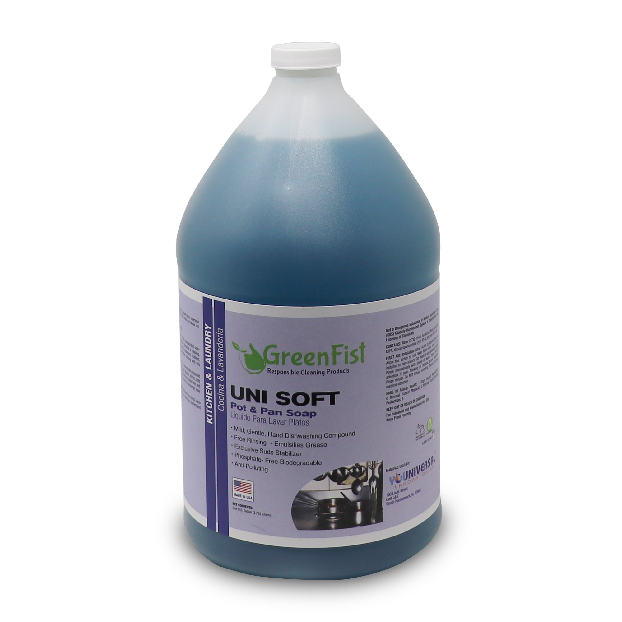 Unisoft Kitchen Commercial Hand Dish Detergent Pot & Pan Soap Liquid [Concentrated]Light or Heavy Use, 1 Gallon