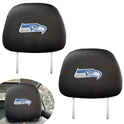 99 Carpro Seattle Seahawks Black Slip Over Embroidered Head Rest Cover Set Universal Car Interior Accessories Fit for Toyota, Jeep, Ford, Lexus, Cadillac, BMW, Audi, 2 Pack: Automotive
