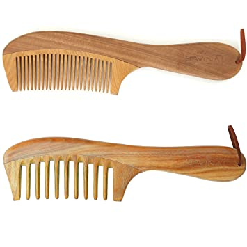 Wooden Comb Set Handmade Comb With Wide Fine Tooth Best Hair Combs For Straight Curly Wavy