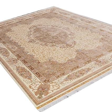Amazon.com: Camel alfombra 10 x14 beige persa Qum seda ...