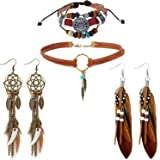 Native American Jewelry for Women with 2 Pairs Boho Feather Earrings and 1 Turquoise Choker Necklace 1 Leather Bracelet for W
