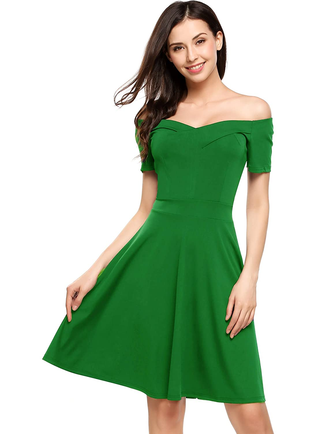 Meaneor Womens Summer Dress Off Shoulder Ruffle A line Swing Party Dress #MWH014056