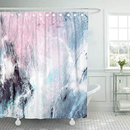 Emvency Fabric Shower Curtain With Hooks Abstract Color Smoke Dynamic Lighting Effect Futuristic Bright Shiny