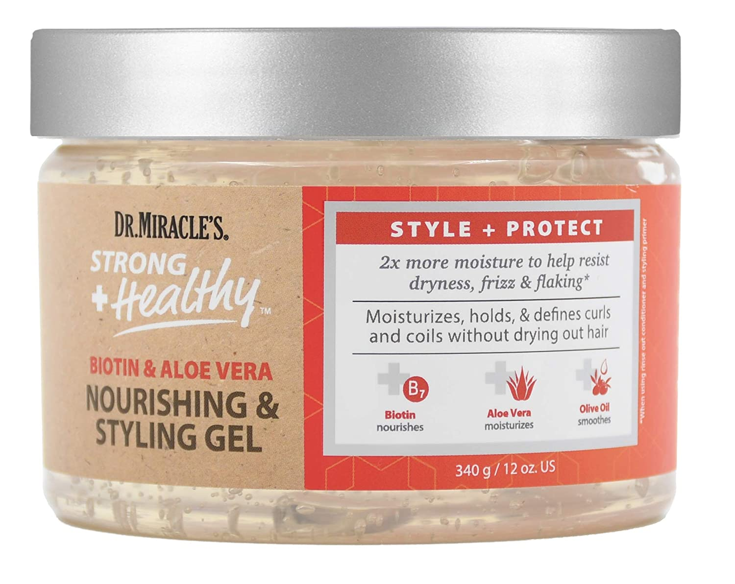 Dr. Miracle's Strong & Healthy Nourishing & Styling Gel. Contains Aloe Vera and Olive Oil to moisturize hair and reduce irritation.