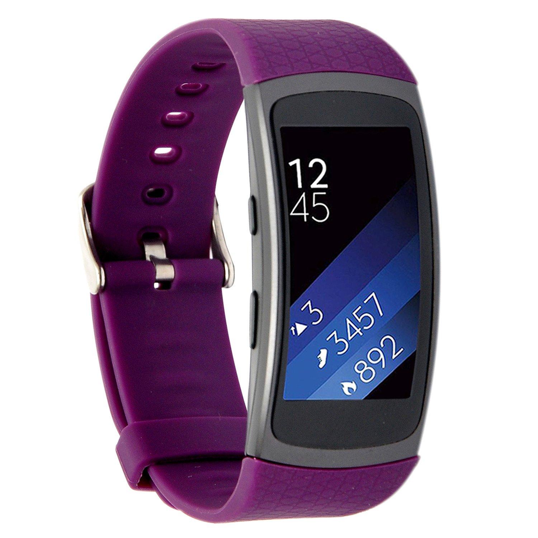 Greatfine Silicona Muñequera de Repuesto Reemplazo Deportes Wristband Correa de Reloj Pulsera para Samsung Gear Fit2 Accessory Reloj Band (Purple): ...