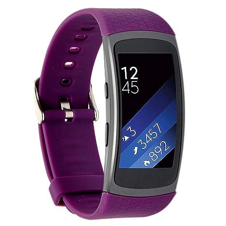 Greatfine Silicona Muñequera de Repuesto Reemplazo Deportes Wristband Correa de Reloj Pulsera para Samsung Gear Fit2 Accessory Reloj Band (Purple)