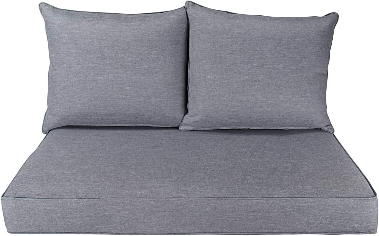 BOSSIMA Patio Furniture Cushions Comofort Deep Seat Loveseat Cushion Indoor Outdoor Seating Cushions Light Grey
