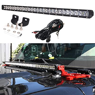 DDUOO 42inch 200W LED Light Bar Single Row Front Cover Bar Light Slim Driving Lamp for Jeep Wrangler JL JLU SUV ATV Boat Marine Truck: Automotive