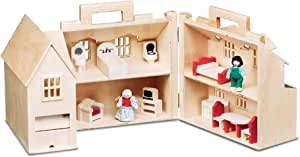 Melissa & Doug Fold & Go Wooden Dollhouse with 2 Play Figures and 11 Pieces of Furniture