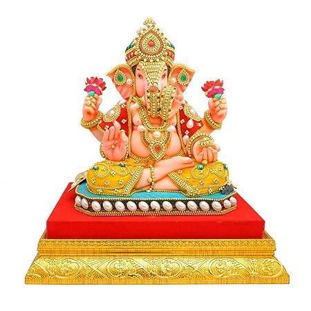 Papilon Handmade Gold Plated Siddh Ganesh Ji Spiritual Idols Decorative Puja/Vastu Showpiece Religious Pooja Gift Item & Murti for Mandir,Temple,Home Decor & Office (10 * 7.5 * 10) Idols & Fig at amazon