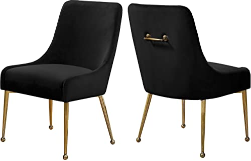Meridian Furniture Owen Collection Modern Contemporary Black Velvet Upholstered Dining Chair with Polished Gold Metal Legs, Set of two, 24 W x 21 D x 34.5 H,