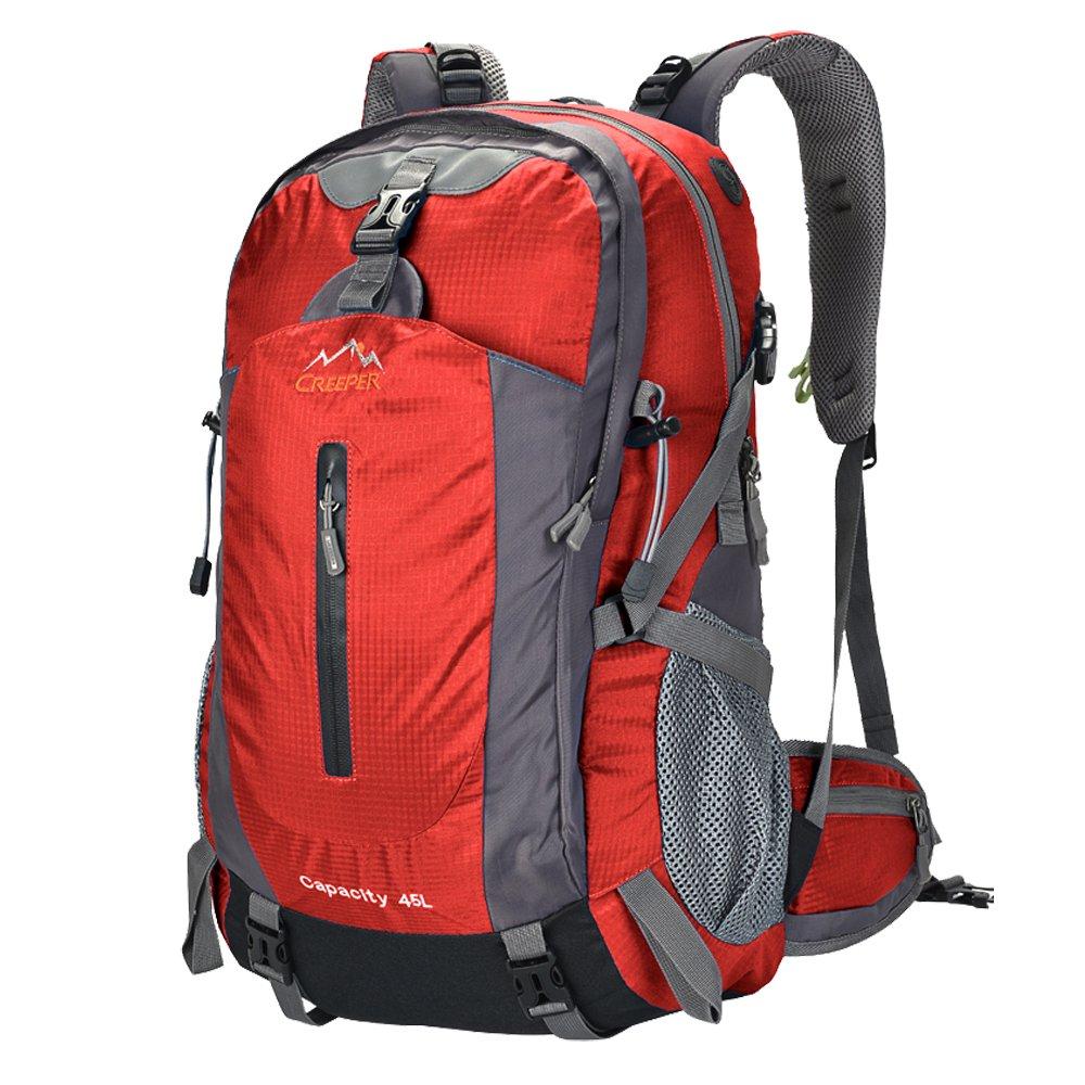 Creeperアウトドアスポーツキャンプハイキング防水バックパックデイパック登山バッグ45l 50lカジュアル旅行トレッキングリュックサックwith雨カバー B01ABAMVQE レッド 45L